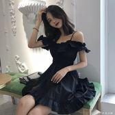 連身裙 韓版吊帶漏肩收腰小黑裙優雅氣質木耳邊一字領抹胸式連身裙女 伊鞋本鋪