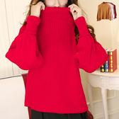 現貨-毛衣-韓版純色立領燈籠袖針織毛衣 Kiwi Shop奇異果1116【SZZ8352】