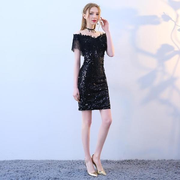 黑色禮服裙女2019新款夏季一字肩性感宴會洋裝小禮服短款名媛派對Mandyc
