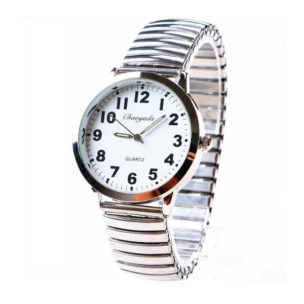 手錶 老年人手表女鬆緊帶鋼彈簧帶夜光大數字老人男女表防水石英表 歐歐