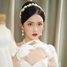 新娘頭飾 新娘頭飾韓式新款復古珍珠甜美精致發帶簡約發箍婚紗發飾白紗飾品 韓菲兒