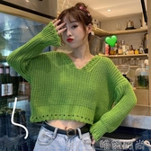 毛衣秋季新款韓版網紅慵懶風毛衣寬鬆V領長袖上衣短款針織衫女