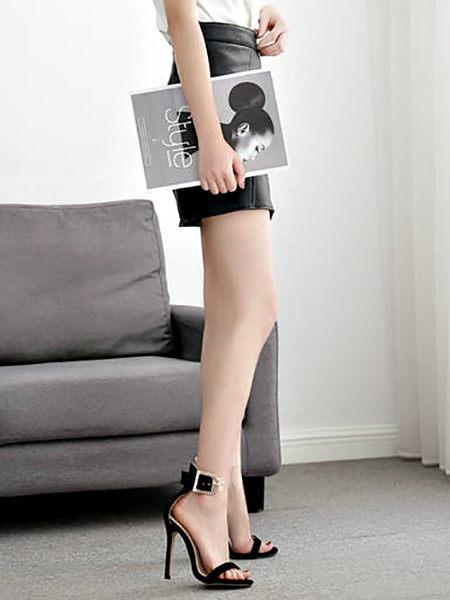 克妹Ke-Mei【ZT51936】歐洲站 女神奢華水鑽釦環併接透視膠片露指高跟鞋