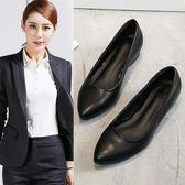 工作鞋工鞋女新款上班鞋酒店工作鞋女黑色中跟平底舒適 貝芙莉