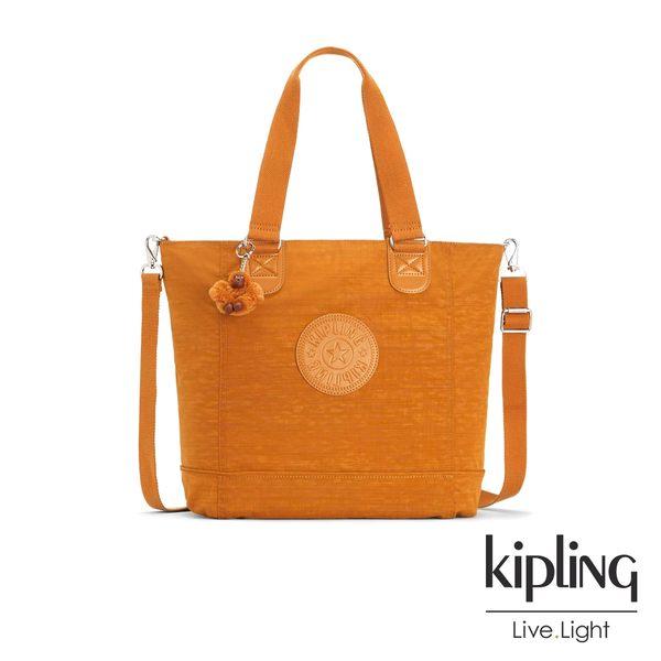 Kipling 黃棕素面手提側背包-SHOPPER