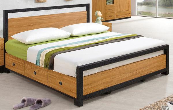 【森可家居】克洛澤5尺床台 7ZX185-5 雙人床架組 北歐工業風 木紋質感 抽屜式