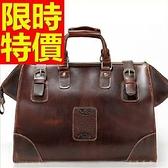 真皮行李袋-商務可肩背大容量設計男手提包1色59c31[巴黎精品]