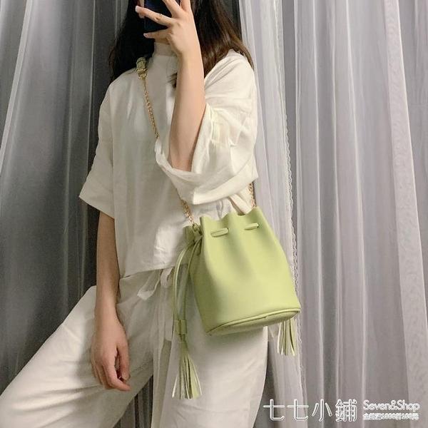 小包包女2019新款潮韓版簡約鏈條包夏天百搭水桶包ins單肩斜背包