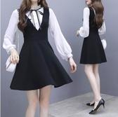 VK精品服飾 韓國名媛風立領蝴蝶結假兩件蕾絲長袖洋裝