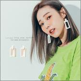 URES 韓國設計款矩形幾何木質耳環【881008167】