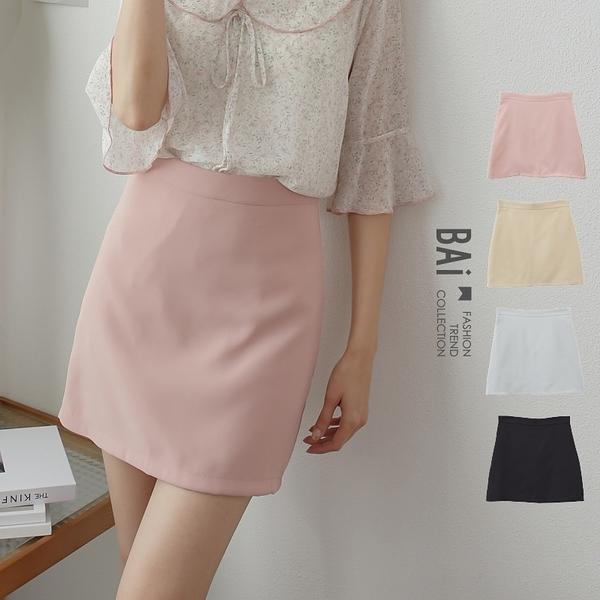 基本款類西裝料拉鍊褲裙M-L號-BAi白媽媽【310216】