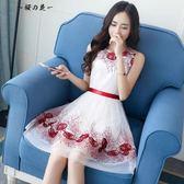 新款2018刺繡修身網紗連身裙夏季女裝無袖收腰仙氣白色中長款裙子【櫻花本鋪】