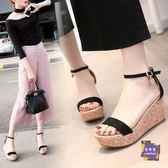 楔型涼鞋 網紅2019新款夏季女鞋厚底楔形涼鞋女鬆糕高跟鞋百搭防滑厚底魚嘴鞋潮 2色33-40