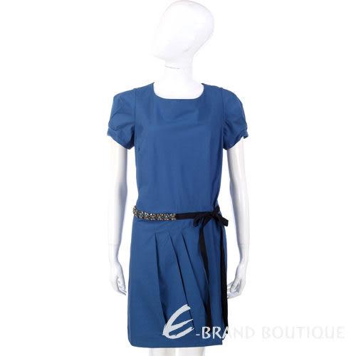 PHILOSOPHY 藍色珠飾腰帶短袖洋裝 1120169-23