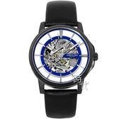 【台南 時代鐘錶 Kenneth Cole】KC50227002 美式潮流 漂浮風格鏤空機械錶 皮帶 黑 42mm
