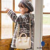 GLOBAL WORK童素色流蘇皮革提把金屬釦休閒肩背側背包-三色