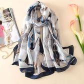 絲巾女百搭雪紡圍巾長款韓版印花披肩紗巾