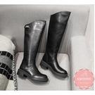 低跟長靴 素面斜口帥氣 軍靴 騎士靴*KWOOMI-A102