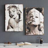 美式創意木板畫 墻面裝飾畫掛件酒吧服裝店房間壁飾壁掛        瑪奇哈朵