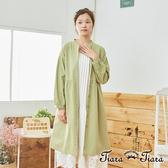 【Tiara Tiara】百貨同步aw 清新風前開襟綁帶長袖洋裝(綠)