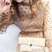 2018春季新款百搭立領小衫透視網紗打底衫女長袖薄款超仙蕾絲上衣  依夏嚴選