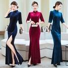 越南旗袍洋裝 2021春春金絲絨長款改良版旗袍高檔禮儀走秀大碼加長款禮儀演出服