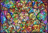 【拼圖總動員 PUZZLE STORY】Disney-全明星彩繪玻璃 日系/Tenyo/迪士尼/1000P/透明塑膠