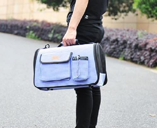 [寵飛天商城]寵物外出攜便包 提袋 貓狗外出背包 可折疊輕便透氣寵物外出側背包 (L號)