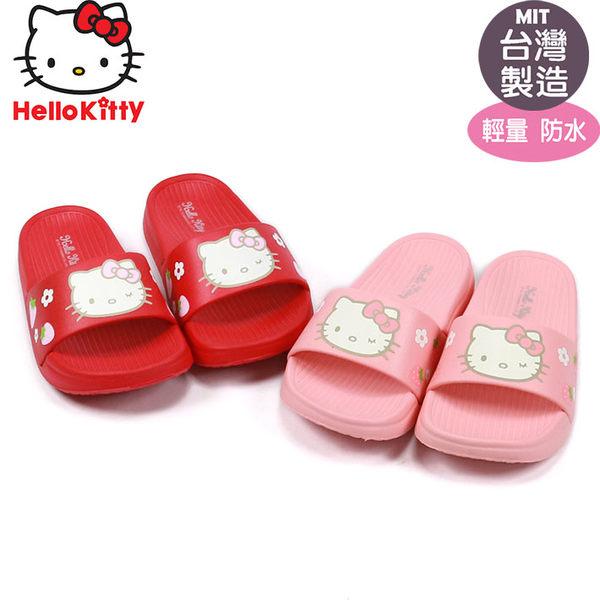 Hello Kitty凱蒂貓 兒童超輕量防水拖鞋.紅.桃色17-23號~EMMA商城