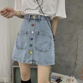 春季2020年新款裙子復古韓版高腰A字短裙小個子牛仔半身裙女裝潮 後街五號