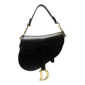 Dior 迪奧 黑色牛皮磁釦金色Logo馬鞍包 Saddle Bag 【二手名牌 BRAND OFF】