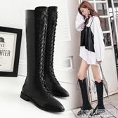 不過膝長靴秋冬新款黑色顯瘦繫帶平底長筒性感百搭尖頭女長筒靴子『新佰數位屋』
