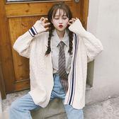 秋冬韓版復古慵懶學院風寬鬆毛衣上衣中長款長袖針織衫開衫外套女