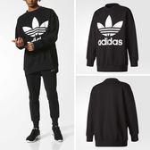 adidas T恤 Crew Sweatshirt 男款 大學服 大學T 落肩 寬版 黑白 黑 白 長袖【PUMP306】 BQ1814