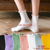 木耳邊襪子女中筒襪花邊可愛日系白色堆堆長襪純棉夏薄款女襪【CH伊諾】
