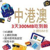 【小資首選】中港澳通用 中國網卡 3天300MB吃到飽 4G網速 免翻牆 隨插即用 網路卡 網卡 上網卡