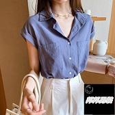 韓版上衣寬鬆無袖打底襯衣大碼襯衫女短袖夏季【邦邦男裝】