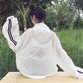 春夏女裝韓版寬鬆微透視袖子條紋棒球服防曬衣夾克上衣休閒薄外套