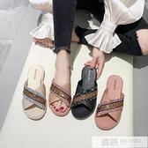 涼拖鞋女2020夏季交叉亮片時尚外穿防滑復古海邊網紅ins潮沙灘鞋  夏季新品