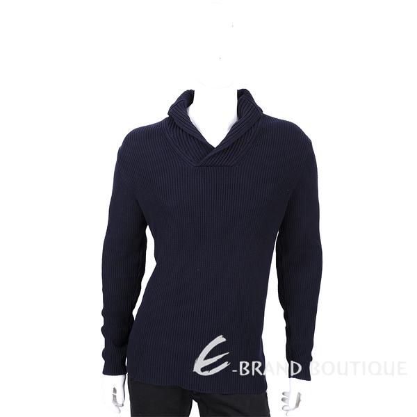 [ NG品 大放送 ]ZARA 深藍色肘拼接設計羅紋針織上衣 1530035-34