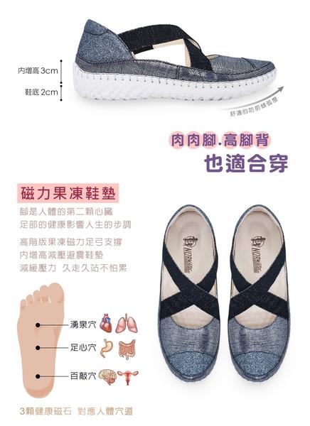 氣墊涼鞋 氣質瑪莉珍交叉款磁石真皮厚底球囊氣墊涼鞋-MIT手工鞋(星空藍)—諾曼地Normady