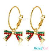 耳環 AchiCat 正白K 晶亮蝴蝶結 耳針式 聖誕節禮物*一對價格*
