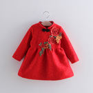 中國風內刷毛復古花朵繡花旗袍洋裝 橘魔法Baby magic 現貨 女童 大紅 過年 新年 喜酒 寶寶旗袍裝