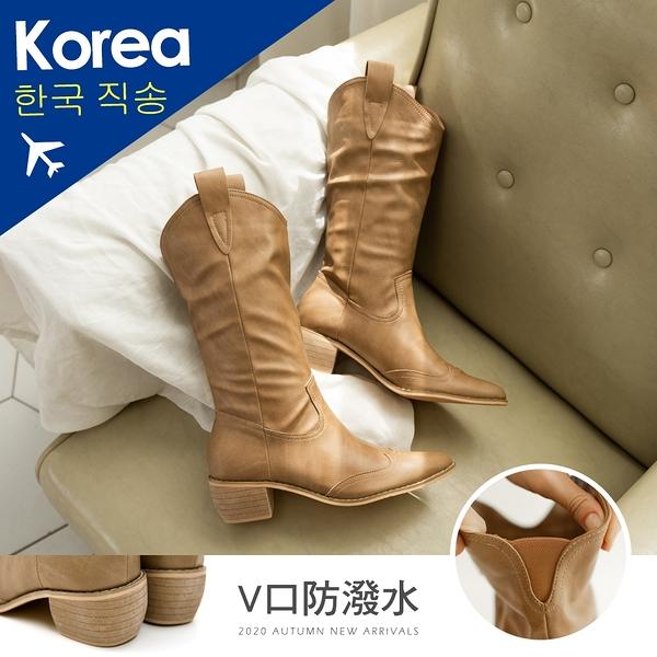 靴.防潑水V口西部牛仔中筒靴(棕)-大尺碼-韓國精選-FM時尚美鞋.Shine