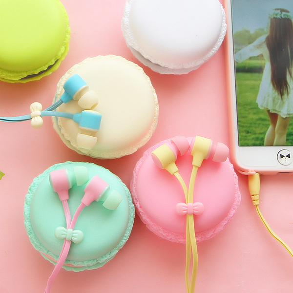 【00332】 糖果色馬卡龍蝴蝶結 入耳式耳機 手機 隨身聽 MP3