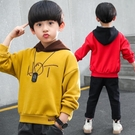 快速出貨 男童套裝男童連帽T恤潮款洋氣韓版兒童中大童連帽上衣春秋童裝男