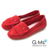 G.Ms.* 牛麂皮減壓豆豆底流蘇莫卡辛鞋-紅色