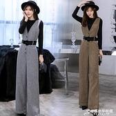 背帶毛呢加厚連體褲高腰連衣闊腿長褲打底針織衫兩件套裝女秋冬季 時尚
