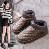 防水雪地靴女短筒2019新款百搭短靴冬防滑厚底加絨保暖棉鞋面包鞋