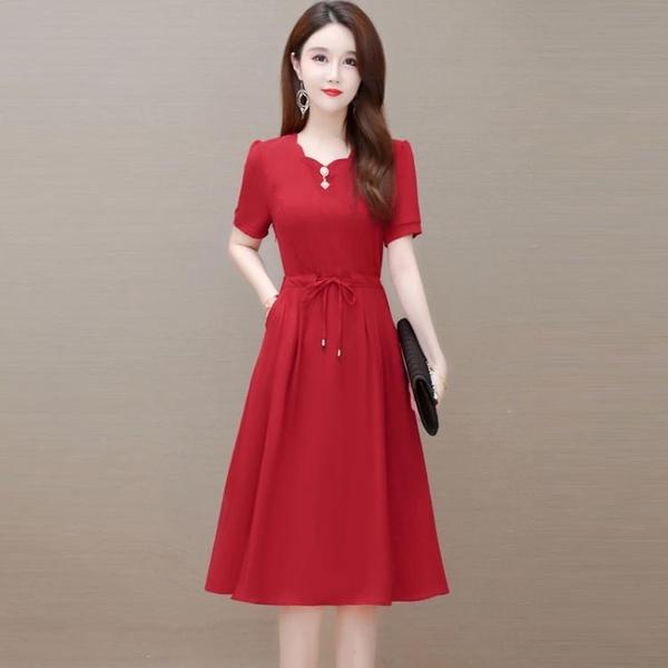 洋裝夏天2021年新款小個子媽媽今年流行大碼減齡顯瘦紅裙子爆款 幸福第一站